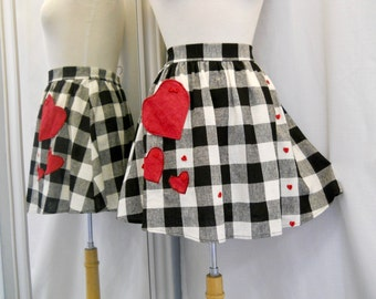 Handmade Black and White Gingham Skirt with Red Heart Pocket and Heart Appliques Skater Skirt Short Skirt Upcycled Skirt Plaid Skirt Size M