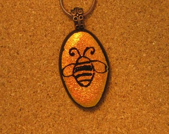 Hand Etched Dichroic Pendant - Dichroic Bee Pendant - Fused Glass Pendant - Dichroic Jewelry - Fused Glass Jewelry - Hand Etched Jewelry