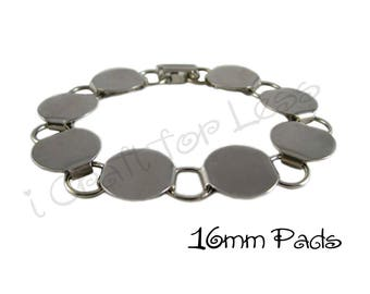 5 Disk Bracelet Blank 7.5 Inch with 16mm Glueable Pads - SEE COUPON