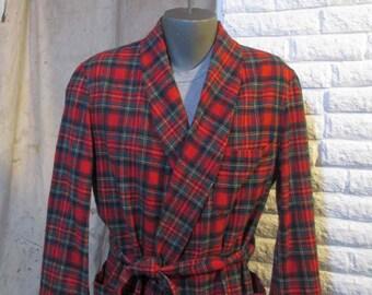 Pendleton Robe Vintage Red plaid robe Stewart Tartan Plaid Vintage Red Plaid Robe 70s Tartan Plaid robe wool wrap robe made in USA  L XL