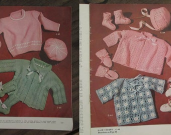 50s Vintage Baby Knitting Book Babies Crochet instructions Vintage Baby Sweater and Hat 50s Baby Booties Yarn Book