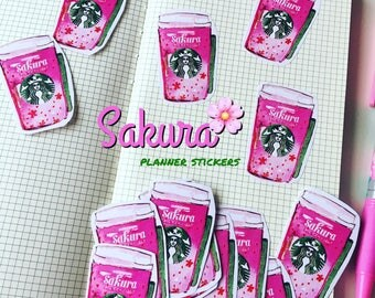 Sakura Spring coffee V2 Starbucks planner Stickers (set of 12) illustration, watercolor drawing, planner decoration, hobonichi