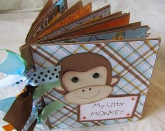 mini scrapbook premade album -- MY LITTLE MONKEY boy -- handmade PaPeR BaG ALbUm - Celebrate your mischievous little guy!