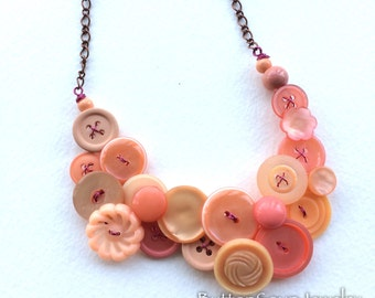 Pretty Peach Vintage Button Necklace
