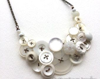 Romantic White Vintage Button Large Statement Necklace (Long Chain)