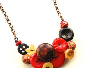 Spring Sale Rustic Vintage Button Necklace in Red, Brown, and Yellow Gold