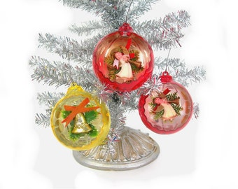 Vintage Plastic Diorama Christmas Tree Ornaments - 2 Red with Angels, 1 Yellow with Bell, Vintage 1960s Era Holiday Decor, Optic Interior