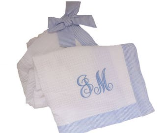Ladies Towel Wrap in Waffleweave with Seersucker Detailing and Bow Personalized with Embroidery