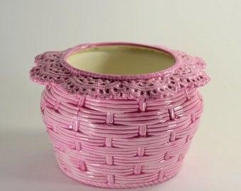 African Violet Pot Basket Weave Large Pink