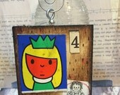 Miss princess -  mixed media- ornament Folk Art