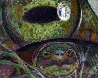 original art aceo turtle eye shell abstract