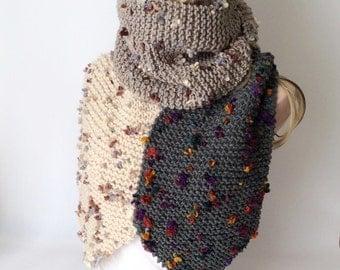 Handmade Huge Long Knitting Wool Oversized Scarf- Beige Cream Gray-Winter Warm