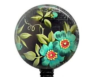 Retractable ID Badge Reel Blue Flower on Black - Name Badge Reel - 32