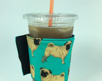 Pugs Whats Up Your Sleeve Reusable Fabric Coffee Sleeve