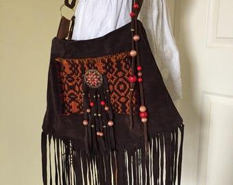 RESERVED for Sueanne Handmade Purse Upcycled Suede Brown Purse Boho Shoulder Bag Fringe Hippie Summer Bag