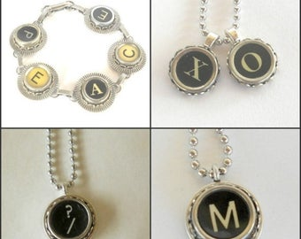 SALE Antique Typewriter Key Necklace Vintage Initial Jewelry All Letters Available Personalize Initials