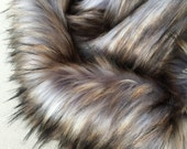 Eclipse -  quality dense long pile luna grey fluffy synthetic fur fabric -1m piece