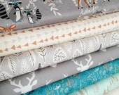 Woodland Blanket Fabric Bundle, Woodland Baby Quilt fabric, Rustic Home Decor, Deer Bedding, Hello Bear, Bundle of 8, Choose the Cuts