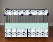 Custom for Jamie Weinar Pink Mint Navy & Grey Floral Feathers BOHO Chevron Baby Nursery Crib Bedding Set made with Designer fabric