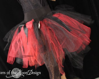 Ready to ship Tutu tulle skirt red black trashy sz Small dance Vampire club wear gothic go go rave halloween goth rave pirate - SOTMD