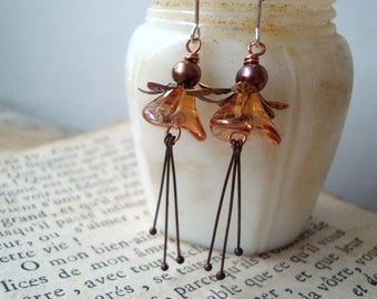 Copper and Rust Blossom Earrings Vintage Style Holiday Jewelry Fall Fashion Gifts Under 40 Flower Jewelry Floral Fall Autumn
