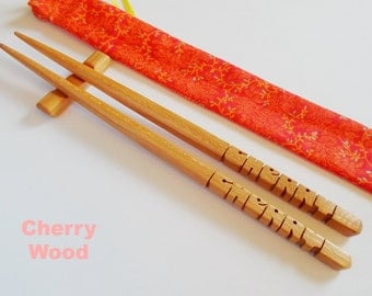 Chopsticks, Cherry Wood, Personalized , Custom Carved to Order