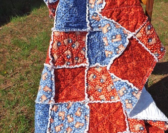 Flag and Stars Rag Quilt - Lap Rag Quilt - Patriotic American Flag and Stars Lap Quilt - red, blue - 4th of July