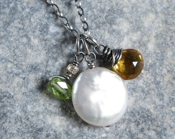 Coin Pearl Necklace, Golden Citrine, Peridot Charm, Cluster Charms On Oxidized Sterling Silver Chain