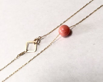 Gold-fill Delicate Necklace with Salmon Coral Bead