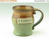 Holiday SALE GRAMPA's Coffee Mug | Wheel Thrown Ceramic Beer Mug | Sturdy Pot Belly Style 16 oz Soup Mug | Honey Brown & Sage Green Stonewar
