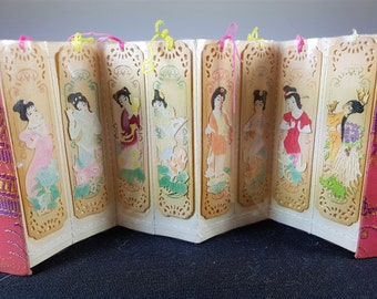 Vintage Asian Geisha Girls Hand Painted Spice Wood Bookmark Set of 8 Handmade