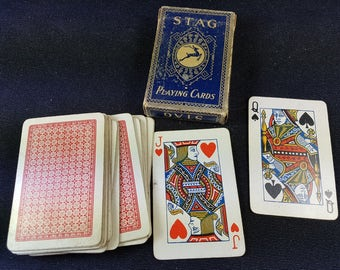 Vintage Stag Canadian Playing Cards in Original Box 1920's - 1930's