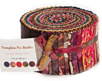 "SALE 30% Off Moda Pumpkin Pie Batiks Jelly Roll 2.5"" Precut Fabric Quilting Cotton Strips 42289JR"