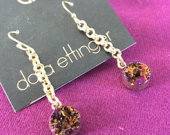 SALE Dara Ettinger Brilliant Agate 14kt Gold Plated Dangle  Chain Tassel Earrings