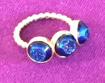 Dara Ettinger VIVIAN Triple Druzy Ring in 14kt Gold/Midnight Window sz 6