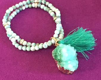 Dara Ettinger Double Beaded Stretch Jade multicolor beaded Bracelet set with natural Green Amethyst Druzy Cluster charm