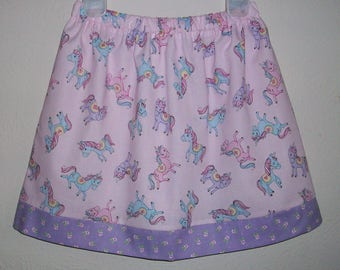 Girls Skirt, Unicorn Skirt, Pink and Purple, Birthday Skirt, Unicorn Party, baby skirt, toddler skirt, Summer Skirt with Unicorns, Sparkly
