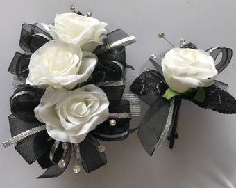 Black Silver White Rose Corsage Set (artificial flowers )