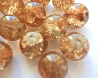 6 Vintage glass beads unique color 14mm