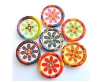 14 Wood buttons 20mm, flowers in 7 designed colors, sweet buttons