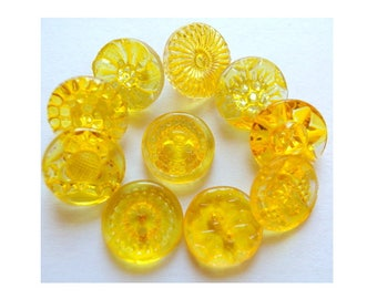 Vintage glass buttons, 10 buttons, hand painted in yelow , 10 designs 14mm, Czech