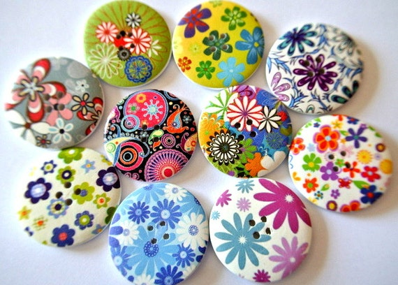 10 Buttons, wood  buttons, 40mm, 10 designs colorful flowers and ornaments in assorted colors