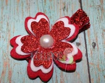 Red Glitter Felt Cherry Blossom Hair Clip, Cherry Blossom Hair Clip, Flower Hair Clip, Hair Clip, Clippie
