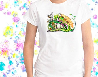 Ladies T-shirt Pixie's Dragon Tangle Art Sizes XS-2X