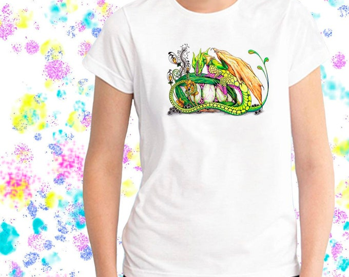 Featured listing image: Ladies T-shirt Pixie's Dragon Tangle Art Sizes XS-2X