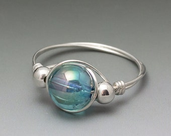 Aqua Aura Crystal Quartz Sterling Silver Wire Wrapped Bead Ring - Made to Order, Ships Fast!