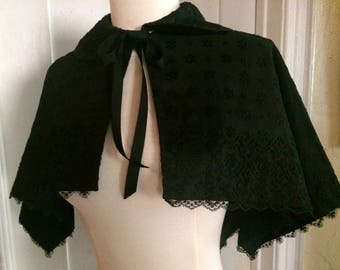 Antique Victorian Edwardian Black Lace & Silk Faille Capelet / Handmade French Chantilly Lace/ Steampunk/ Goth