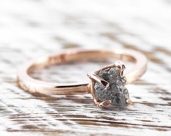 Uncut Grey Diamond Ring Rough 14k Rose Gold Engagement Rings
