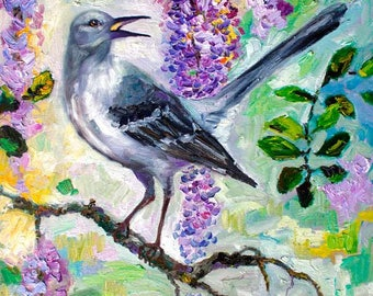 Impressionist Oil Painting Mockingbird Song In Wisteria