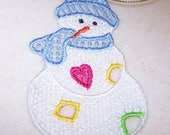 Adorable patchwork snowman ornament machine embroidered lace